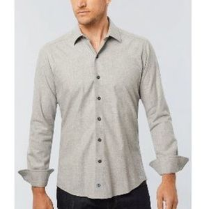 NWT David Donahue Soft Brushed Melange Shirt Gray